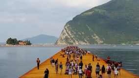 Floating piers on Iseo lake. Made by the artist Christo Royalty Free Stock Photography