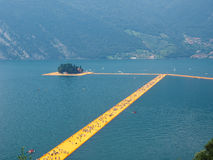 The Floating Piers in Lake Iseo Royalty Free Stock Photos
