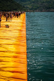 Floating Piers longest walkway edge Royalty Free Stock Image