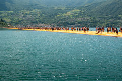 Floating Piers longest walkway Royalty Free Stock Photo
