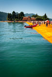 Floating Piers near Isola di San Paolo vertical view Stock Photos