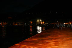 The Floating Piers night image Stock Photos