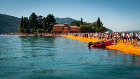 Floating Piers to Isola di San Paolo Stock Photography