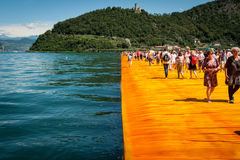 Floating Piers walkway edge horizontal Stock Image