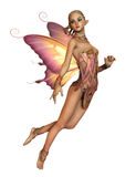 Floating Pink Fairy, 3d CG CA. 3d computer graphics of a hovering fairy with braided blond hair and butterfly wings Stock Images