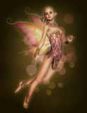 Floating Pink Fairy, 3d CG. 3d computer graphics of a hovering fairy with braided blond hair and butterfly wings Royalty Free Stock Images