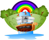 Floating Pirate Ship Royalty Free Stock Image