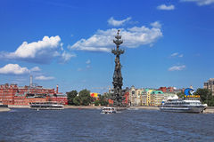 Floating pleasure boats with people in Moscow, Russia Stock Photos
