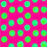 Floating poison circles seamless pattern background. Green floating circles on a pink background seamless pattern Royalty Free Stock Image