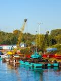 Floating pontoon and crane Stock Photography