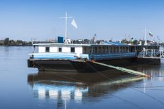 Floating pontoon pier, Danbe river, Ruse. Floating landing stage, Danbe river, Ruse, Bulgaria Royalty Free Stock Images