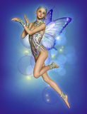 Floating Purple Fairy, 3d CG Royalty Free Stock Photos