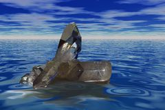 Floating quartz crysta. Quartz crystal floating over the sea Stock Photo