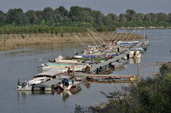 Floating quay, po river. Floating quay of harbour on a lateral ramification of  po river, in emilia near parma Stock Image