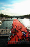 The floating race track installed on Seine river near Alexandre III bridge in Paris, France . Royalty Free Stock Photo