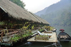 Floating Raft Hotel on the River Kwai Royalty Free Stock Photos