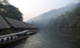 Floating Raft Hotel on the River Kwai Royalty Free Stock Images
