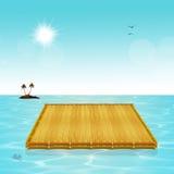 Floating raft in the ocean. Illustration of floating raft in the ocean Royalty Free Stock Images