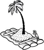 Floating raft. With a palm treeб black and white style Royalty Free Stock Images