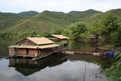 Floating raft restaurant on the valley river Stock Images