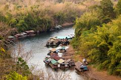 Floating rafts on tropical river Royalty Free Stock Photography