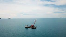 Floating Сrane in Sea stock video footage