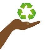 Floating recycle sign over hand Royalty Free Stock Images