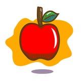 Floating red apple with green leaf on orange background. Floating red apple with green leaf on brown stalk with orange background Royalty Free Stock Image