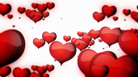 Floating red hearts on white backgroun animation for Valentine's day stock video