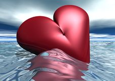 Floating Red Valentine Heart Stock Photo