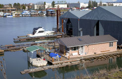 Floating repair dry dock for power boats. Repair dry dock for yachts and boats, Portland OR Royalty Free Stock Image
