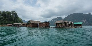 The floating resort inn at Chiew Lan, Ratchaprapa Dam, Surathani. Thailand stock photo