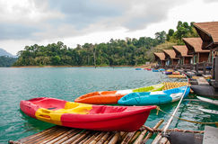 Floating resort and kayaks. Floating resort in  Ratchaprapha Dam, Khao Sok National Park, Suratthani, Thailand Stock Images