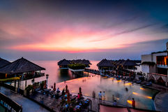 Floating resort during sunset. This floating resort located at sepang, selangor, malaysia royalty free stock image