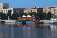 Floating restaurant. On the city river Stock Image