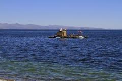 Floating restaurant, Copacabana, Bolivia Stock Photos