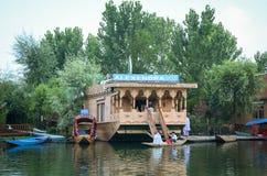 Floating restaurant on Dal lake in Srinagar, India Stock Images