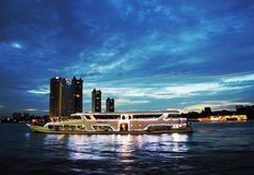 The floating restaurant dinner cruise, Thailand Stock Image