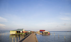 Floating restaurant on a harbor of Ham Ninh traditional fishing village Royalty Free Stock Images