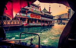 Floating Restaurant in Hong Kong harbor, China. Royalty Free Stock Images