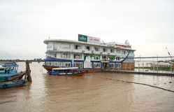 Floating restaurant on Mekong River Stock Photography