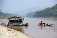 Floating restaurant at Mekong river, Laos stock images