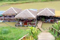 Floating restaurant river Khmer food, Cambodia Royalty Free Stock Photo
