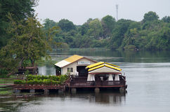 Floating restaurant on the River Kwai, Thailand Stock Photo