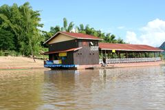 Floating restaurant at Mekong river, Asia  Stock Photo