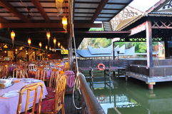 Floating restaurant. Floating seafood restaurant in Malaysia Stock Photos