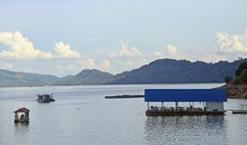 Floating restaurant on the shore of Nam Ngum Royalty Free Stock Photography