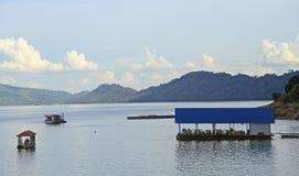 Floating restaurant on the shore of Nam Ngum Royalty Free Stock Photography