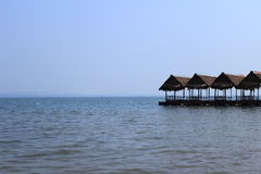 Floating Restaurant. With sky and water background stock image