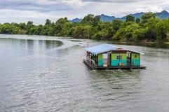 Floating restaurants in Thailand. KANCHANABURI, THAILAND - SEPTEMBER 01 - Floating restaurants on September 01, 2012 on river Kwai in Kanchanaburi, Thailand Stock Images